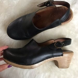 Dansko Wood Heel Black Clogs Size 6